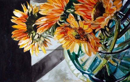 "Sunflower Still-Life20X30"" Mixed-Media on Illustration Board"