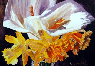 Daffodil and LilyDedicated to my motherMixed-Media on watercolor paper22X30""